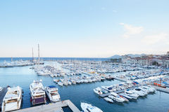 Cannes old harbor boats and yachts, French riviera Stock Image