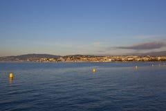 Cannes, opinión hermosa Francia de la playa Imagen de archivo libre de regalías