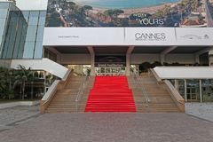 Cannes Red Carpet. Cannes, France - January 20, 2012: Grand Auditorium Cannes Red Carpet Stairway at Palais des Festivals et des Congres in Cannes, France royalty free stock photography