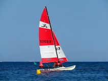 Cannes - Sailing catamaran in the Mediterranean Sea royalty free stock photography