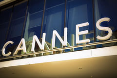 Cannes sign at the luxury resort on French Riviera Royalty Free Stock Photos