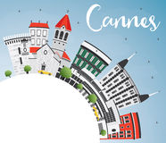 Cannes Skyline with Gray Buildings, Blue Sky and Copy Space. Stock Image