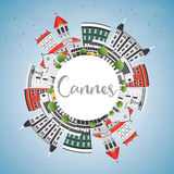 Cannes Skyline with Gray Buildings, Blue Sky and Copy Space. Stock Photo