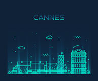 Cannes skyline trendy vector illustration linear Royalty Free Stock Photography
