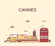 Cannes skyline trendy vector illustration linear Stock Photography