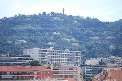 Cannes, town, city, human settlement, residential area. Cannes is town, residential area and downtown. That marvel has city, skyline and aerial photography and Stock Photos