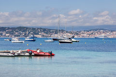 Cannes: view from Lerins Island. Small and large yachts anchored Stock Photography