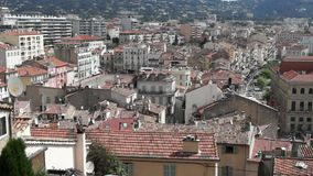 Cannes - view at old city stock footage