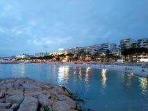 Cannes - vista di notte fotografia stock