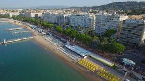 Cannes, widok z lotu ptaka nad croisette przy wschodem słońca zdjęcie wideo