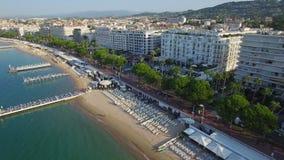 Cannes, widok z lotu ptaka nad croisette przy wschodem słońca zbiory