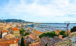 Cannes Yacht Basin Panorama.jpg Royalty Free Stock Photo