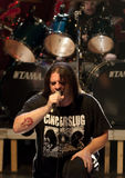 Cannibal Corpse on stage. 'Cannibal Corpse performing life in Vilnius, capital of Lithuania Stock Photo