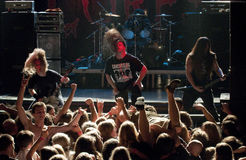 Cannibal Corpse on stage. Cannibal Corpse performing life in Vilnius, capital of Lithuania Stock Images