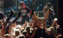 Cannibal Corpse on stage. Cannibal Corpse performing life in Vilnius, capital of Lithuania Stock Photos