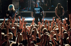 Cannibal Corpse on stage. Cannibal Corpse performing life in Vilnius, capital of Lithuania Royalty Free Stock Photos