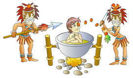 Cannibalism. Victim and cannibals, soup from person, humour, vector illustration Stock Photo