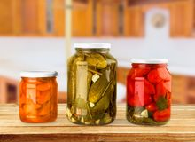 Canning. Jar food canned food vegetable storage compartment preserved Stock Images