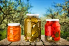 Canning. Jar food canned food vegetable storage compartment preserved Stock Photography