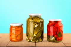 Canning. Jar food canned food vegetable storage compartment preserved Royalty Free Stock Photos
