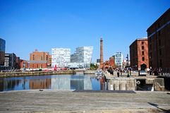 Canning Dock, Liverpool. View across Canning Dock with The Pumphouse and city buildings, Liverpool, Merseyside, England, UK, Western Europe Royalty Free Stock Images