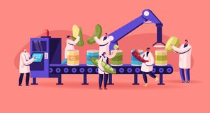Free Canning Factory Working Process. Production Of Canned Vegetables. Workers Put Fresh Veggies And Greens Royalty Free Stock Images - 164220979