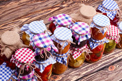 Canning food in glass jar. Royalty Free Stock Photos