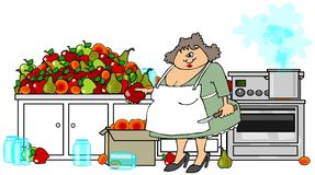Canning fruit. This illustration depicts a woman wearing an apron and holding a paring knife while peeling and canning a mountain of fruit in her kitchen Royalty Free Stock Images