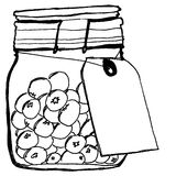 Canning Jar. Drawing of a canning jar with blueberries and a blank tag Stock Photos