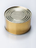 Canning tin can on a gray background Royalty Free Stock Images