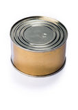 Canning tin can on a gray background Stock Image