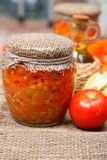Canning vegetables in the banks Royalty Free Stock Image