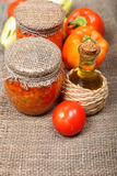 Canning vegetables in the banks Royalty Free Stock Images