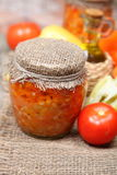 Canning vegetables in the banks Royalty Free Stock Photos