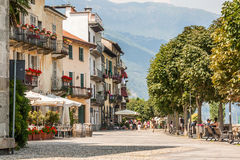 Cannobio, Italy, August 01, 2012: Picturesque walkway Royalty Free Stock Photo
