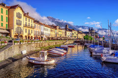 Cannobio old town, Lago Maggiore, Italy. Cannobio is a popular tourist resort on Lago Maggiore lake, Italy royalty free stock photo
