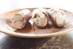 Cannoli, сицилийский десерт Стоковые Изображения RF