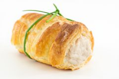 Cannoli cream with salted tuna. Puff pastry stuffed with tuna cream and soft cheese royalty free stock photography