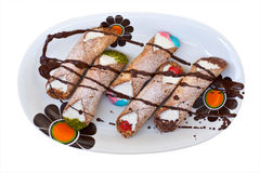 cannoli Di pastry ricotta σισιλιάνο στοκ εικόνα με δικαίωμα ελεύθερης χρήσης
