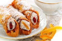 Cannoli with fresh ricotta and candied fruit. Royalty Free Stock Photo