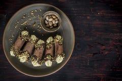 Cannoli italiano tradizionale del dessert Fotografia Stock Libera da Diritti