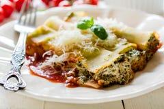 Cannoli mit Spinat und Käse Lizenzfreie Stockbilder