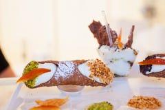 Cannoli, pasteles sicilianos Fotografía de archivo libre de regalías