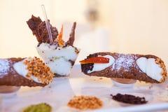 Cannoli, pasteles sicilianos Foto de archivo libre de regalías