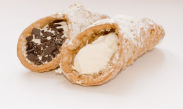 Cannoli siciliani. Italians sweets, cakes and desserts Royalty Free Stock Photo