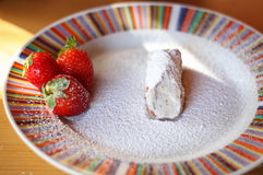 Cannoli with strawberries Royalty Free Stock Photography
