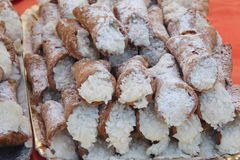 Cannoli stuffed cream Royalty Free Stock Images