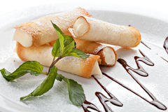 Cannoli. Traditional Sicilian pastry desserts Stock Photos