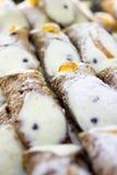 Cannoli, typical Sicilian desserts Royalty Free Stock Photo