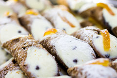 Cannoli, typical Sicilian desserts Royalty Free Stock Photo